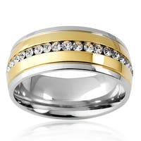 Crucible Two-tone Stainless Steel Cubic Zirconia Eternity Band