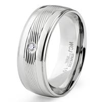 Men's Stainless Steel Cubic Zirconia Diagonally Striped Center Band