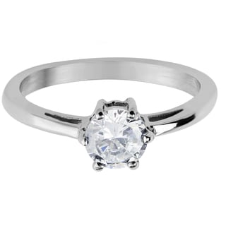 Women's Stainless Steel Round Cubic Zirconia Solitaire Ring - White