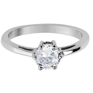 Women's Stainless Steel Round Cubic Zirconia Solitaire Ring - Silver