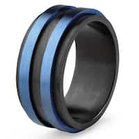 Crucible Men's Stainless Steel Black and Blue Brushed Finish Ring