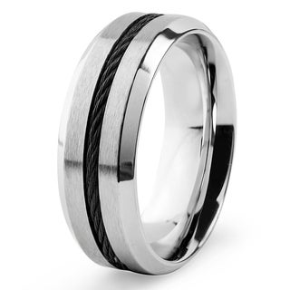 Men's Stainless Steel with Blacktone Cable Inlay Comfort Fit Ring