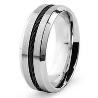 Men's Stainless Steel with Black Cable Inlay Comfort Fit Ring