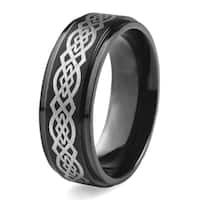 Men's Black Plated Stainless Steel Braided Celtic Knot Ring