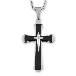 Men's Two-Tone Stainless Steel Flared Triple Layer Cross Pendant