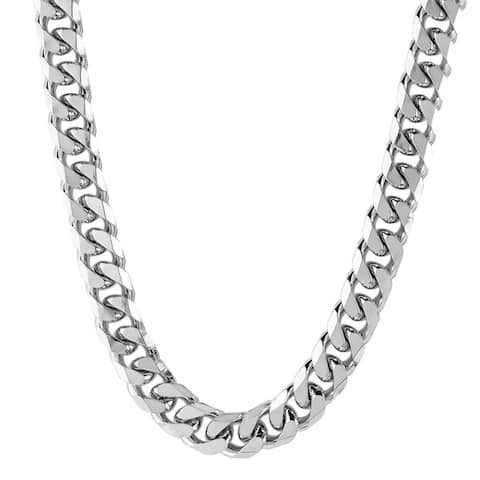 Men's Stainless Steel Beveled Cuban Link Chain (6.4 mm) - Silver