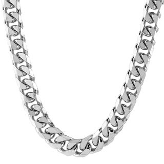 Stainless Steel Beveled Curb Link Chain Necklace (10 mm)