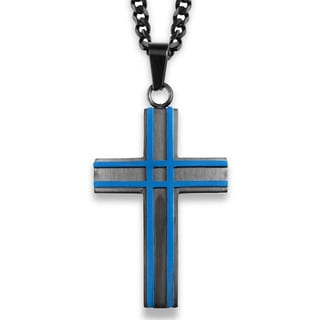 Crucible Black Plated and Blue Plated Layer Cross Pendant