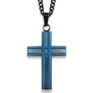 Crucible Black and Blue Plated Layered Cross Pendant - 24 inch