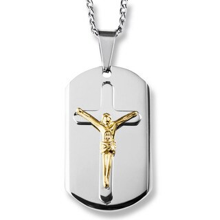 Men's Two-Tone Stainless Steel Layer Crucifix Dog Tag Pendant|https://ak1.ostkcdn.com/images/products/10362769/P17470318.jpg?_ostk_perf_=percv&impolicy=medium