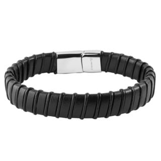 Crucible Stainless Steel Black Leather Stripped Bracelet