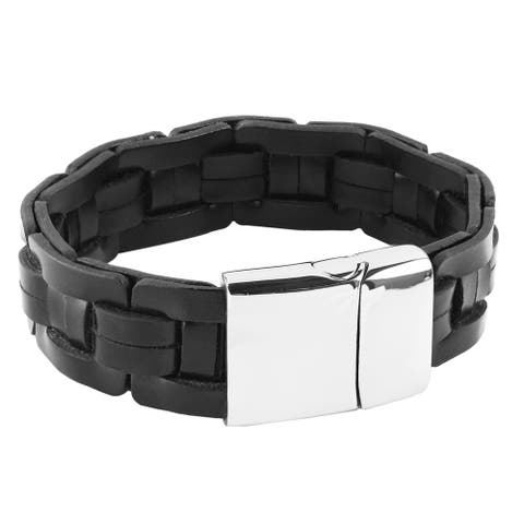 Crucible Men's Black Leather Stainless Steel Bracelet