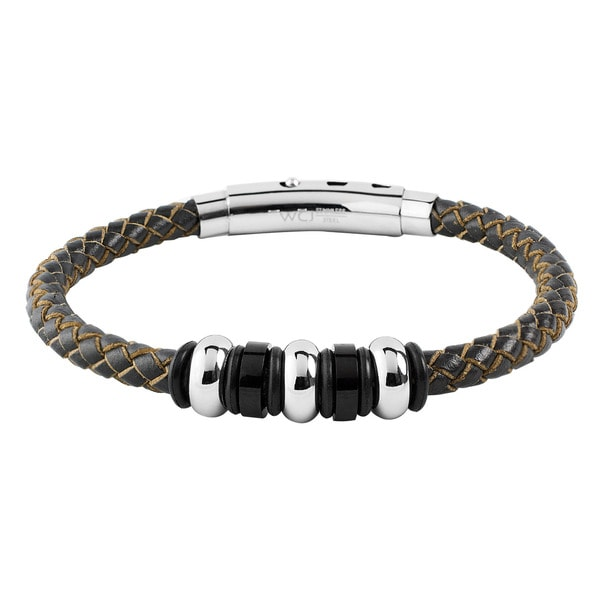 Men's Stainless Steel Brown Leather Braided and Beaded Bracelet
