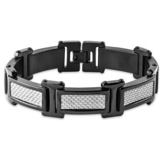 Crucible Blackplated Stainless Steel Grey Carbon Fiber Link Bracelet - Silver