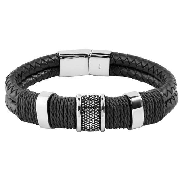 Crucible Stainless Steel Leather Woven with Twine Center Bracelet