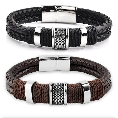 Crucible Stainless Steel Woven Leather Bracelet - 8.5 Inches