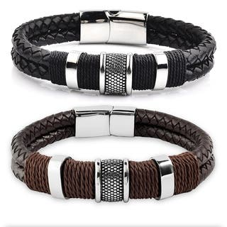 Crucible Stainless Steel Leather Woven with Twine Center Bracelet|https://ak1.ostkcdn.com/images/products/10362784/P17470325.jpg?impolicy=medium