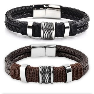 Crucible Stainless Steel Leather Woven with Twine Center Bracelet (2 options available)