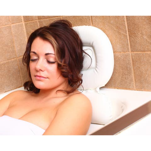 Bath Luxury Comfort White Vinyl Bathtub Pillow with Relaxing Neck/ Shoulder Foam