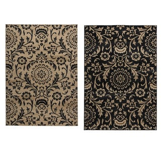 Rizzy Home Carrington Collection Power-loomed Trellis Design Beige/ Black Rug (5'3 x 7'7)