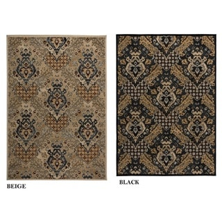 Rizzy Home Carrington Collection Power-loomed Trellis Design Black/ Beige Rug (6'7 x 9'6)
