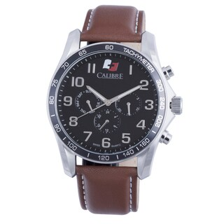 Calibre Men's Swiss Quartz Chronograph Leather Strap Watch