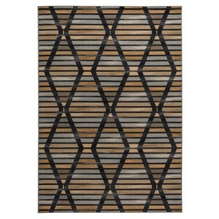 Rizzy Home Carrington Collection Power-loomed Geometric Grey/ Black Rug (6'7 x 9'6)