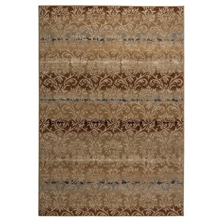 Rizzy Home Carrington Collection Power-loomed Trellis Beige/ Rust Rug (5'3 x 7'7)