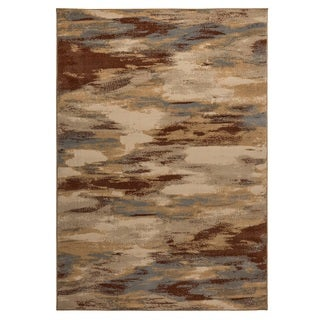 Rizzy Home Carrington Collection Power-loomed Abstract Beige/ Grey Rug (6'7 x 9'6)