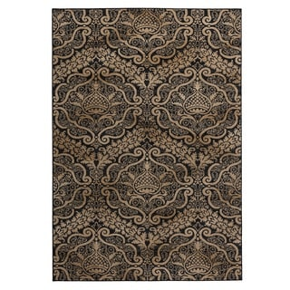 Rizzy Home Carrington Collection Power-loomed Trellis Ivory/ Black Rug (6'7 x 9'6)