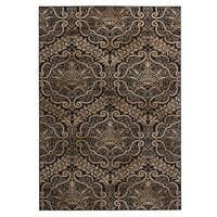 """Rizzy Home Carrington Collection Power-loomed Trellis Ivory/ Black Rug - 6'7"""" x 9'6"""""""