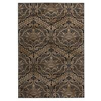 Rizzy Home Carrington Collection Power-loomed Trellis Design Black/ Ivory Rug (5'3 x 7'7)