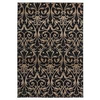 "Rizzy Home Carrington Collection Power-loomed Trellis Design Ivory/ Black Rug (6'7 x 9'6) - 6'7"" x 9'6"""