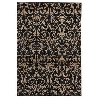 Rizzy Home Carrington Collection Power-loomed Trellis Black/ Ivory Rug (5'3 x 7'7)