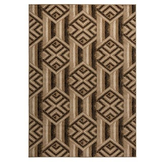 Rizzy Home Carrington Collection Power-loomed Geometric Gold/ Ivory Rug (6'7 x 9'6)