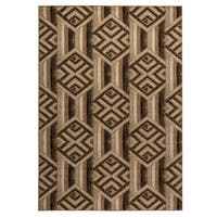 """Rizzy Home Carrington Collection Power-loomed Geometric Gold/ Ivory Rug - 6'7"""" x 9'6"""""""