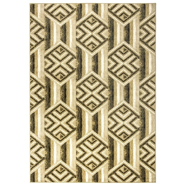 Rizzy Home Carrington Collection Power-loomed Geometric Gold/ Ivory Rug (5'3 x 7'7)