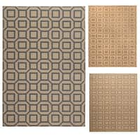 Rizzy Home Millington Collection Power-loomed Geometric Ivory/ Grey/ Gold Rug (6'7 x 9'6) - 6'7 x 9'6