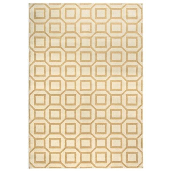 Rizzy Home Millington Collection Power-loomed Geometric Ivory/ Grey/ Gold Rug (5'3 x 7'7) - 5'3 x 7'7