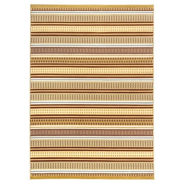 Rizzy Home Millington Collection Power-loomed Geometric Grey/ Gold Rug (6'7 x 9'6)
