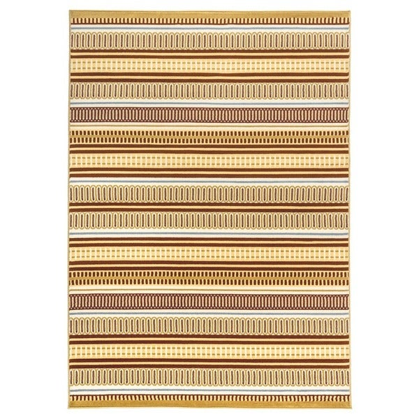 Rizzy Home Millington Collection Power-loomed Geometric Grey/ Gold Rug (5'3 x 7'7)