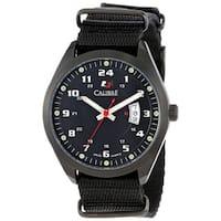 Calibre Men's Swiss Quartz Trooper Black Dial Canvas Strap Watch
