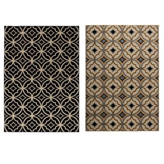 Rizzy Home Millington Collection Power-loomed Geometric Ivory/ Black Rug (7'10 x 10'10)