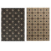 """Rizzy Home Millington Collection Power-loomed Geometric Ivory/ Black Rug - 7'10"""" x 10'10"""""""