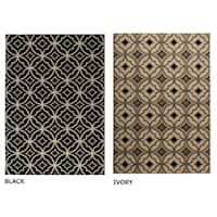 Rizzy Home Millington Collection Power-loomed Geometric Ivory/ Black Rug (6'7 x 9'6) - 6'7 x 9'6