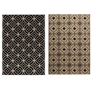 Rizzy Home Millington Collection Power-loomed Geometric Ivory/ Black Rug (5'3 x 7'7)