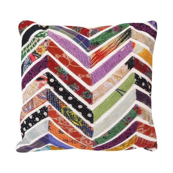 Handmade Vintage Chevron Square Accent Pillow (India)