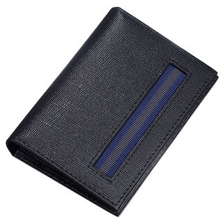Caseti Roland Ribbed Black Leather Bifold Wallet