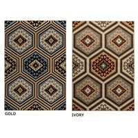 "Rizzy Home Millington Collection Power-loomed Geometric Ivory/ Gold Rug (7'10 x 10'10) - 7'10"" x 10'10"""