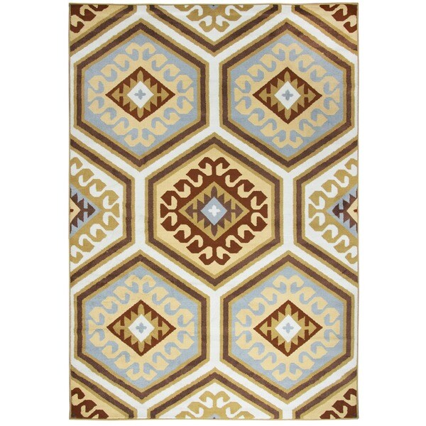 Rizzy Home Millington Collection Power-loomed Geometric Ivory/ Gold Rug (6'7 x 9'6)